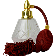 Vintage Cut Glass Perfume Bottle with Maroon Atomizer