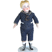 "4 1/4"" Early Kestner Dollhouse Boy in Sailor Suit All bisque Doll with 4 Strap Bootines"