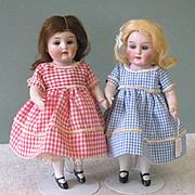 "7 3/4"" Twin PRIZE BABY 208 / 6 All Bisque Dolls ~ Hertel Schwab ~ Perfect!"