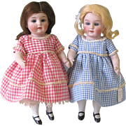 "7 3/4"" Twin PRIZE BABY 208 / 6 All Bisque Dolls ~ Hertel Schwab ~ Perfect!"