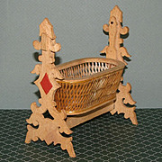 Lovely Wood and Rattan Rocking Bassinet / Cradle