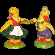 "Cute Pair 2 3/8"" Composition German Dressed Ducks"