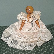 """3 3/4"""" Jointed Wooden Doll from Czechoslovakia"""