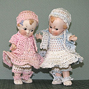 """Adorable Pair 5+"""" All Bisque Dolls Cupid & His Sister by Hertwig"""