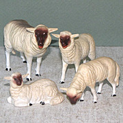 """4 Antique Bisque Sheep by Kling ~ 2 1/2"""" to 4"""" LOVELY!"""