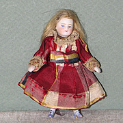 """3 1/2"""" French Mignonette ~ Delicate Little Girl with Blue Shoes!"""