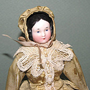 """8 1/2"""" Covered Wagon China Head Doll with Pink Tint Head & Arms ~ LOVELY!"""