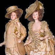"""Exquisite Pair 7 1/2"""" Bisque Head Dolls ~ All Original & Wonderful!"""