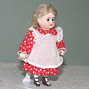 """Sweet 3 1/2"""" ABG with Cobalt Eyes and Bootines ~ Early All Bisque Doll"""