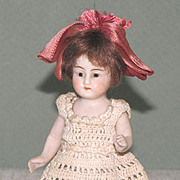 """4"""" Glass Eye Dollhouse Doll ~ All Bisque Doll with Blue Stockings"""