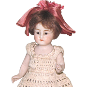 "4"" Glass Eye Dollhouse Doll ~ All Bisque Doll with Blue Stockings"