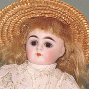 """Gorgeous 6 1/2"""" Early Kestner '208 / 8' with Gold Boots All Bisque Doll"""