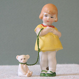 "3"" Hertwig Girl with Bear on ""Leash"" ~ Repaired!"
