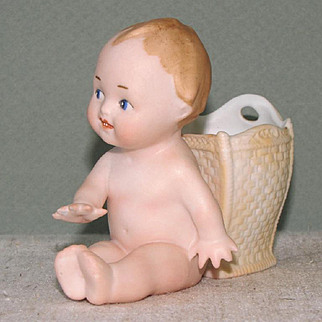 Goebel Position Baby with Attached Vase/Cup/Basket ~All Bisque Doll
