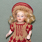 """4"""" Kestner with Black Stockings & Tan Slippers ~ Cute All Bisque Doll!"""