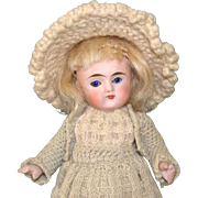 """5 1/8"""" Early Kling All Bisque Doll Cobalt Eyes & Bootines"""