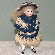 """4"""" Early Kestner '183 / 2 1/2' All Bisque Doll Brown Glass Eyes"""