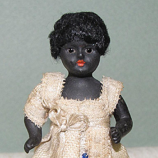 """3 1/2"""" Black All Bisque Dollhouse Doll with Glass Eyes & All Original"""
