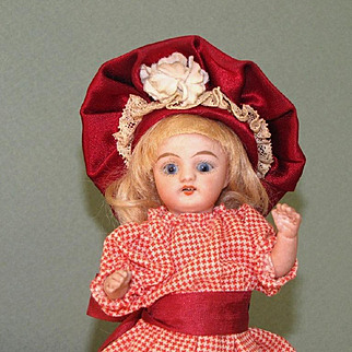 """5 1/2"""" S&H '886/1' Mignonette All Bisque Doll with 2 Dresses"""