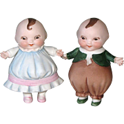 """4"""" HAPPIFATS Pair All BIsque Dolls Exceptional!"""