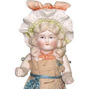 "5 3/4"" Hertwig Bonnet Head All Bisque Doll in Paper Dress"