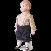 "6 1/4"" All Bisque Boy Doll ~ Nice Original Clothes"