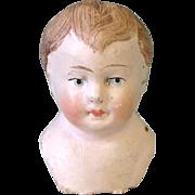 "2 3/4"" Papier Mache Doll Head Marked 'W'"