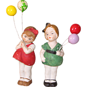 "Pair Hertwig Girls with ""Balloons"" ~ 3 1/2"" All Bisque Dolls"
