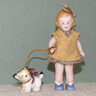 """2 5/8"""" Hertwig Girl with Dog on Leash ~ All Bisque Jointed Doll"""