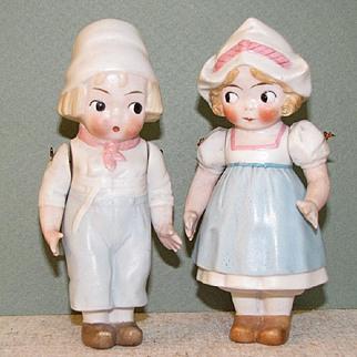 """4 7/8"""" Hertwig Googly Dutch Pair All Bisque Dolls"""