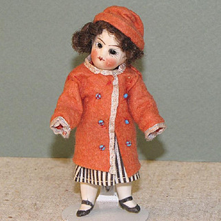 """4"""" French Little Girl All Original ~ Mignonette All Bisque Doll"""