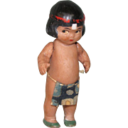 """2 3/4"""" Hertwig Indian Boy ~ Ever so cute! All Bisque Doll"""