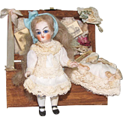 """3 3/8"""" Jullien Jeune All Bisque Mignonette Doll with Extras"""