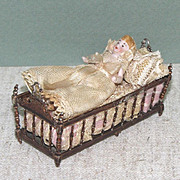 "1 3/4"" All Bisque Baby in 3"" Spindle Sided Crib ~ Dollhouse Doll"