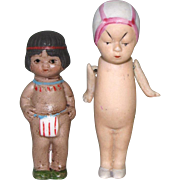 """3 1/4"""" 'Queue San Baby' by Morimura & 2 3/4"""" Indian ~ All Bisque Dolls"""