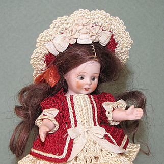 """4"""" Amberg Girl with Downward Gaze ~ Sweet All Bisque Doll"""
