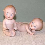 Pair Goebel Position or Action Babies Cute All Bisque Dolls