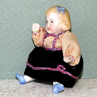 """Darling 3"""" Hertwig All Bisque Dollhouse Doll with Blue Bows"""
