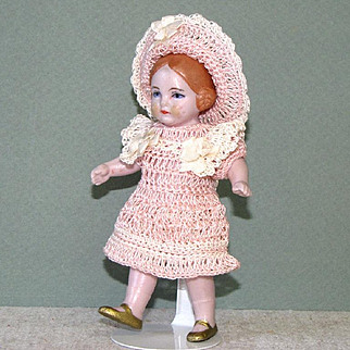 """4 1/2"""" Hertwig/Amberg All Bisque Doll with Coiled Braids"""