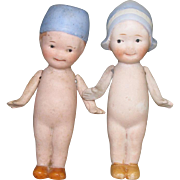 """3 3/4"""" & 4"""" Pair Dutch Kids ~ All Bisque Dolls Girl is Nippon"""