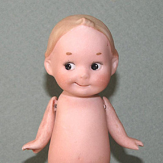 """4 1/2"""" Gbr. Heubach Googly Character All Bisque Doll - AS IS"""