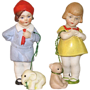 "Pair 3"" Hertwig Kids with Pets on Leashes"