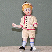 "Darling 3 3/4"" Swivel Neck Kestner Dollhouse All Bisque Boy Doll"