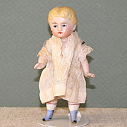 "3 3/4"" Blue Boots Kestner All Bisque Dollhouse Doll"