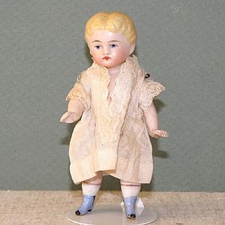 "3 3/4"" Blue Boots Kestner All Bisque Dollhouse Doll"
