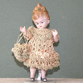 """4 1/2"""" Limbach P71 All Bisque Doll ~ She's Flirting!"""