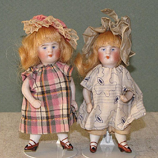 "4"" Pair Kestner Swivel Neck All Bisque Dolls ~ Original and Perfect!"