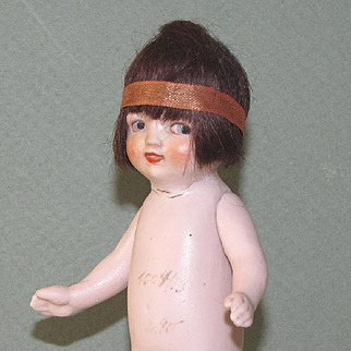 "5"" Rare Hertwig Flapper All Bisque Doll ~ as is"