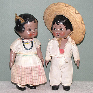 "7 1/4"" Pair Hard Plastic Mexican Children with Swivel Necks Marked ""CIPSA"""