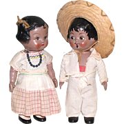 "7 1/4"" Pair Hard Plastic Mexican Children with Swivel Necks Marked ""CIPSA"""